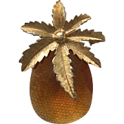 Vintage 1960's Sarah Coventry Amber Glass Pineapple Pin / Pendant