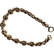 Antique Victorian 12K Gold FIlled Engraved Curb Link Bracelet