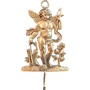Antique French Gilt Bronze Cupid Wall Plaque / Hook