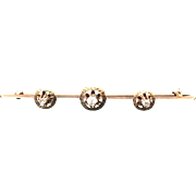 Antique 10K Gold Three Diamond Bar Pin