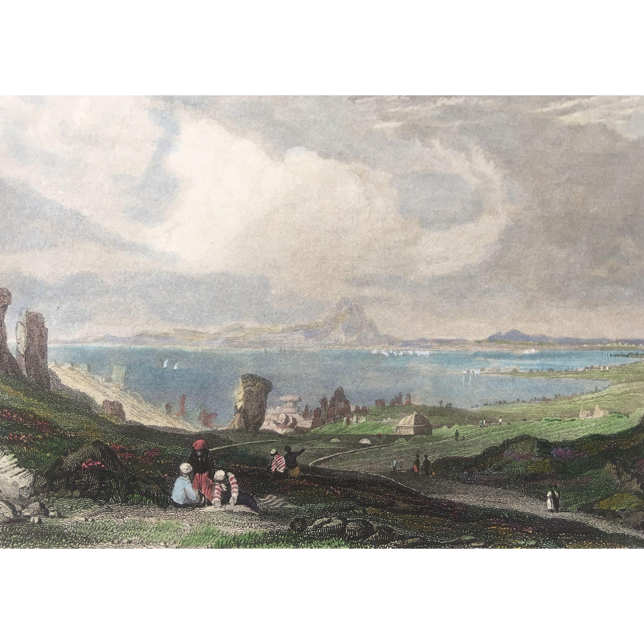 1850's Meyer Hand Colored Steel Engraving ~ The Ruins of Carthage / Tunisia