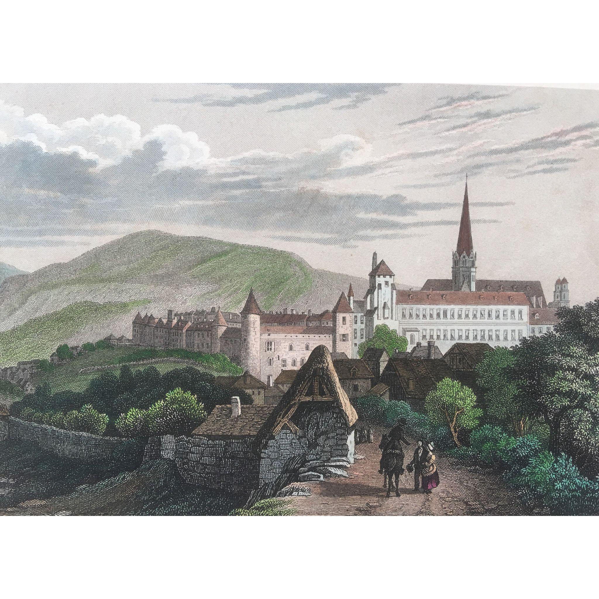 1850's Meyer Hand Colored Steel Engraving ~ Autun in France
