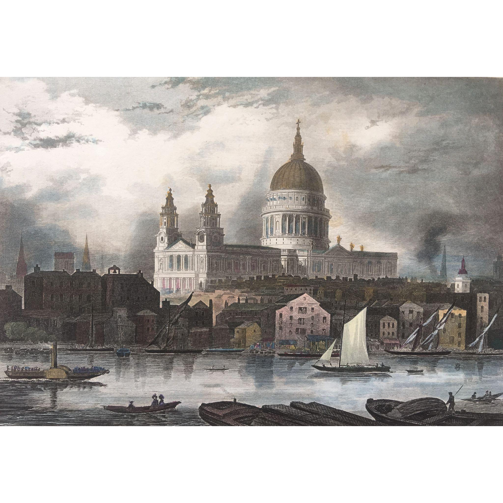 1850's Meyer Hand Colored Steel Engraving ~ St. Paul's Cathedral in London