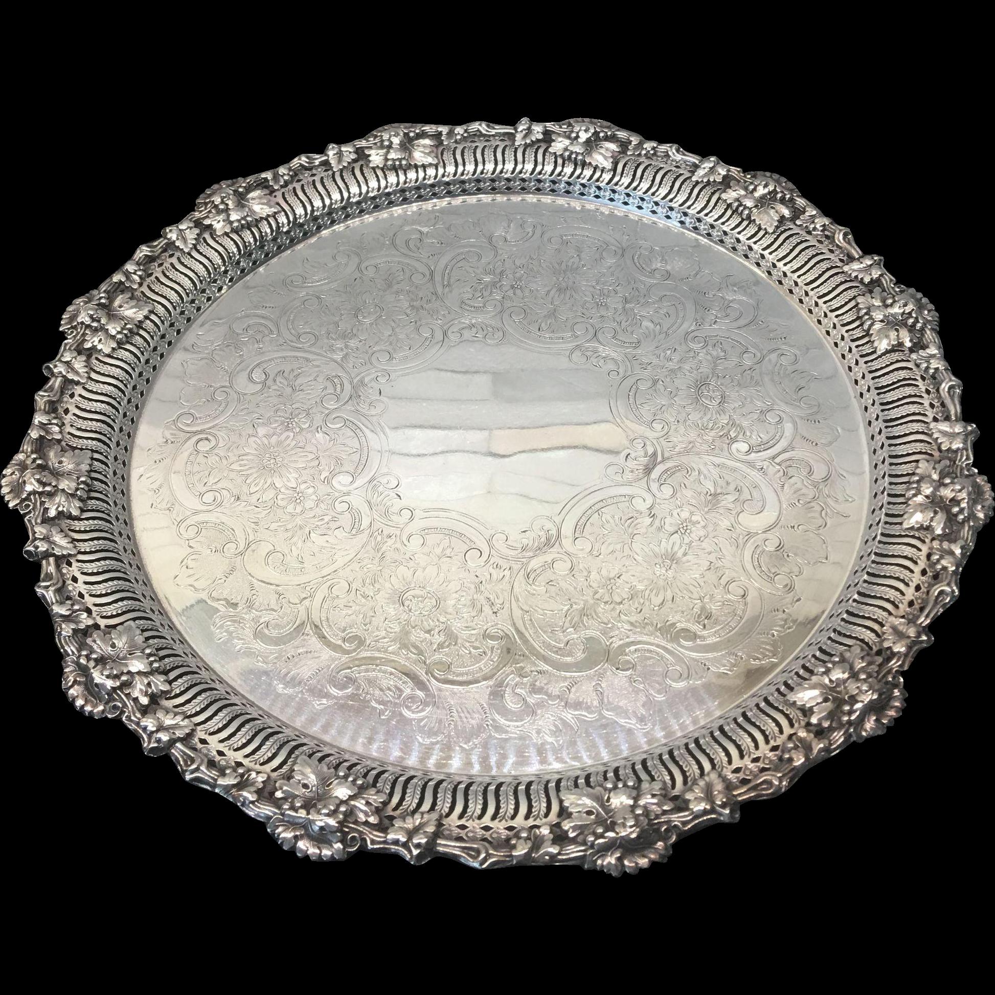 Fine Ellis Barker Silver Plate Vintage Grape Reticulated Tray