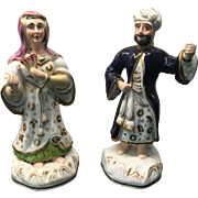 Pair Antique French / Continental Porcelain Figures of Sultan and Sultana