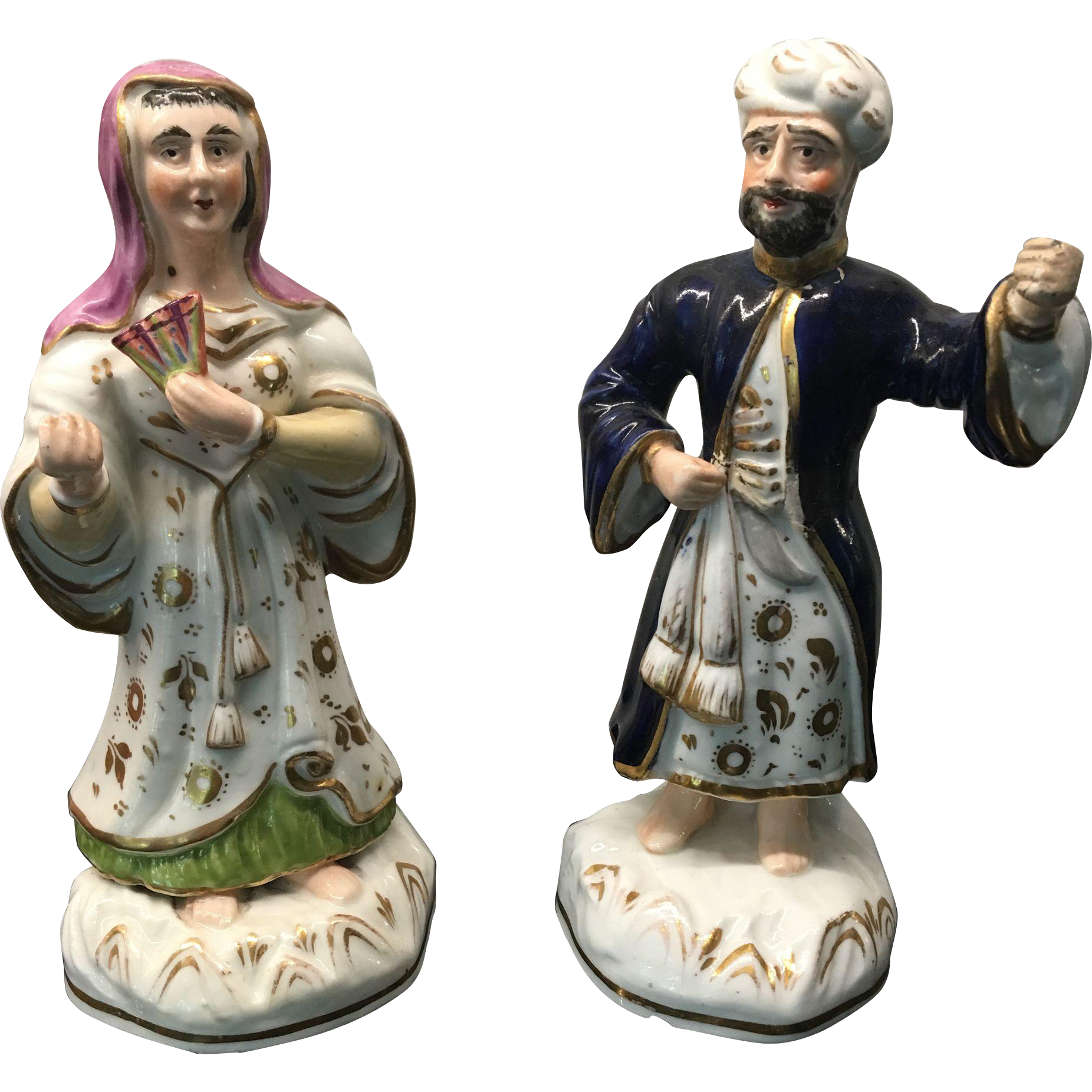 Pair Antique French Old Pairs Porcelain Figures of Turkish Sultan and Sultana
