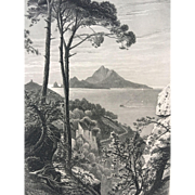 19th Century Harry Fenn Steel Engraving of Capri , Italy