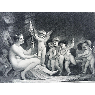Fine Antique French Steel Plate Engraving w/ Cherubs - Morning by Leopold Flameng