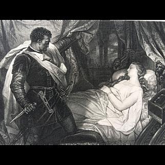 1880's SHAKESPEARE Steel Engraving - Othello and Sleeping Desdemona