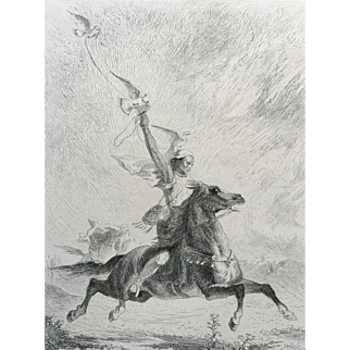 19th Century Etching / Engraving - The Arab Falconer