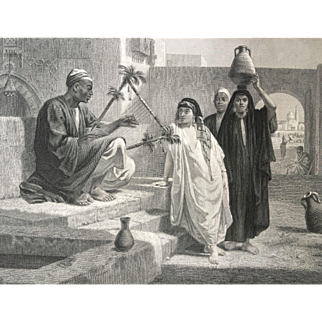 19th Century Steel Engraving - The Song of the Nubian Slave