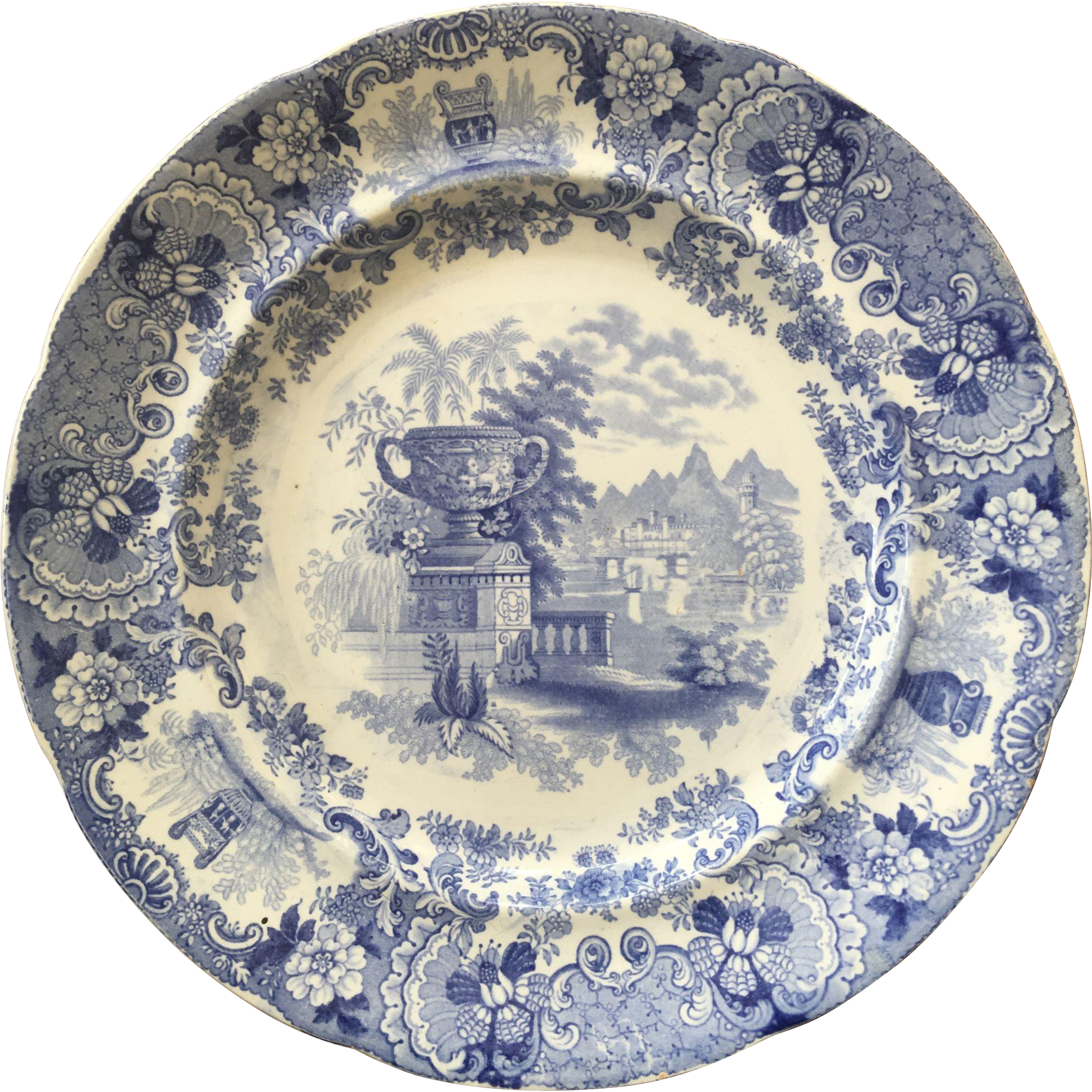 Fine 1840's Blue and White Staffordshire Plate