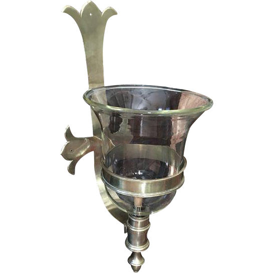 Wall Sconce With Hurricane Glass : Large Vintage CHAPMAN Brass and Glass Hurricane Wall Sconce from shopontheboulevard on Ruby Lane