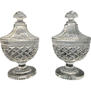 Pair of Antique English or Irish Victorian Cut Glass Sweetmeat Dishes and Covers