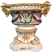 Antique DERBY Polychrome and Gilt Potpourri Urn / Pastille Burner