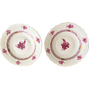 2 HEREND Chinese Bouquet Raspberry Salad / Dessert Plates