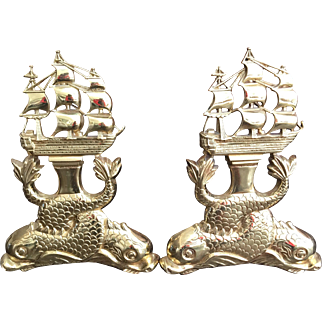 Pair Vintage Brass Ship and Intertwined Dolphin Andirons - Lord Nelson's HMS Victory