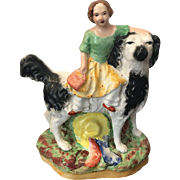 Vintage Staffordshire Girl / Princess with Dog