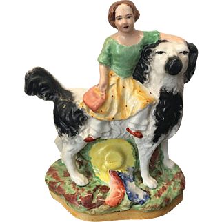 Vintage Staffordshire Girl / Princess with Dog