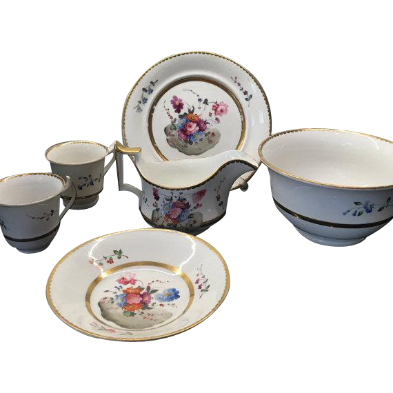Antique Partial Set Hand Painted English Porcelain