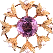 Antique  14K Gold Amethyst and Pearl Pin / Pendant