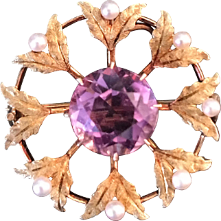 Antique Victorian / Edwardian 14K Amethyst and Pearl Pin / Pendant