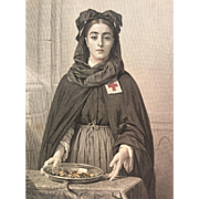 19th Century Hand Colored Engraving of Red Cross Nurse ~ ALSACE