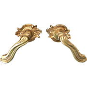 Pair Vintage French Louis XV Style Brass Lever Door Handles / Pulls