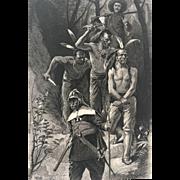 19C Historical Native American  / Narragansett Chief Print - The Death of Miantonomo