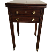 Henredon Chippendale Mahogany Fretwork Drop Leaf End Table