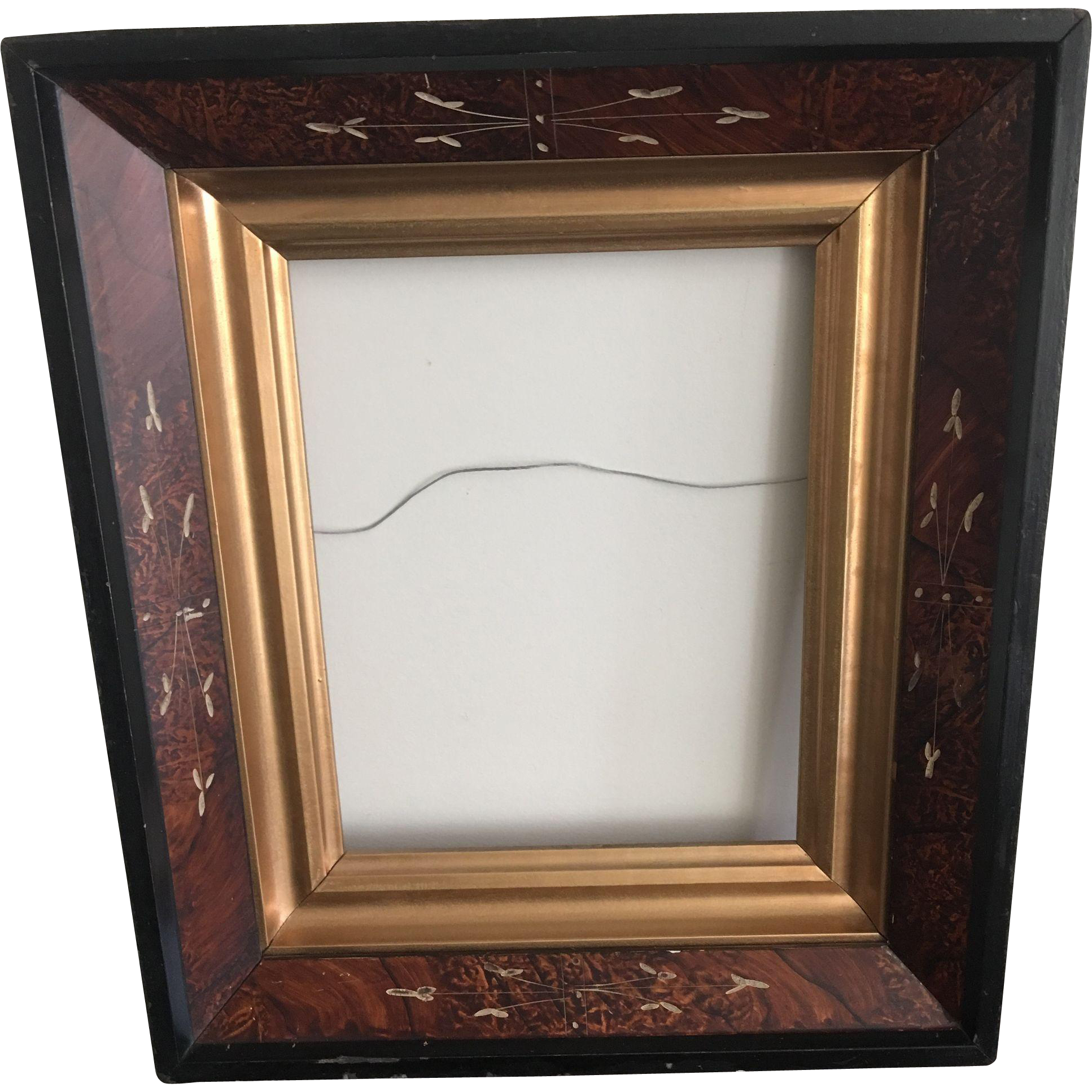 Antique American Eastlake Deepwell Walnut Picture Frame