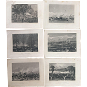 Set of Six Antique CIVIL WAR BATTLE SCENE Steel Engravings
