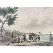 19th Century Hand Colored Steel Engraving - LANDING AT JAMESTOWN