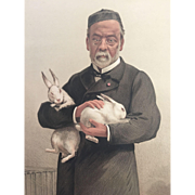 Original 1887 Vanity Fair Print ~ Doctors and Scientists ~ LOUIS PASTEUR with Rabbits