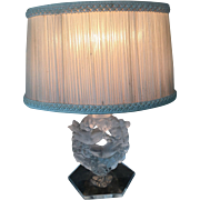 Vintage LALIQUE Frosted Crystal MESANGES Lamp
