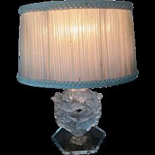 Vintage LALIQUE Frosted Crystal MESANGES Lamp