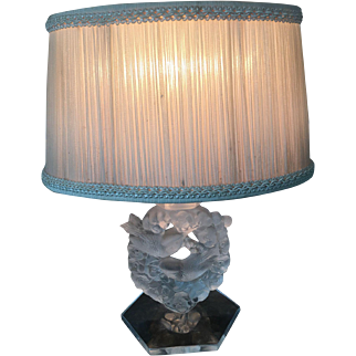 Vintage LALIQUE Frosted Crystal MESANGES Lamp with Shade