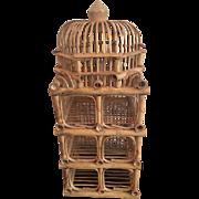 1970's Vintage Bamboo Bird Cage Pagoda Wine Rack