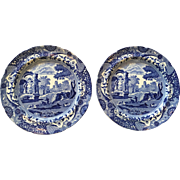 Pair Early 19th Century SPODE ITALIAN Blue and White Transferware Plates