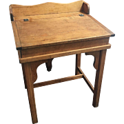 Antique Country Pine Slant Top Children's School Desk