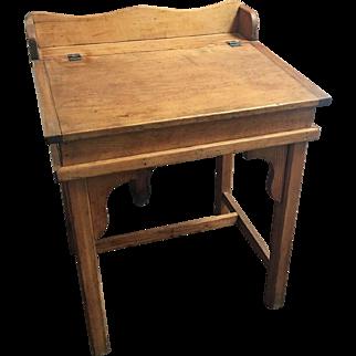 Antique Country Pine Slant Top Children's School Desk