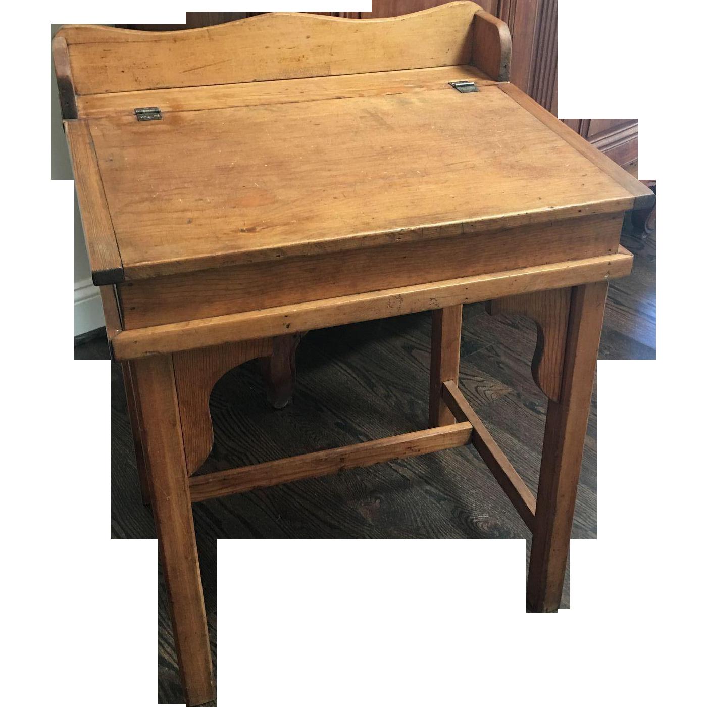 Country Pine Slant Top Children's School Desk