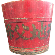 Vintage Chinese Red Lacquer Rice Bucket