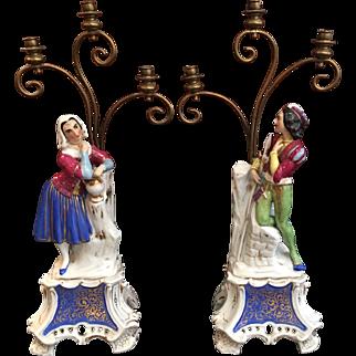 Pair 19th Century French OLD PARIS Porcelain Figural Candelabra