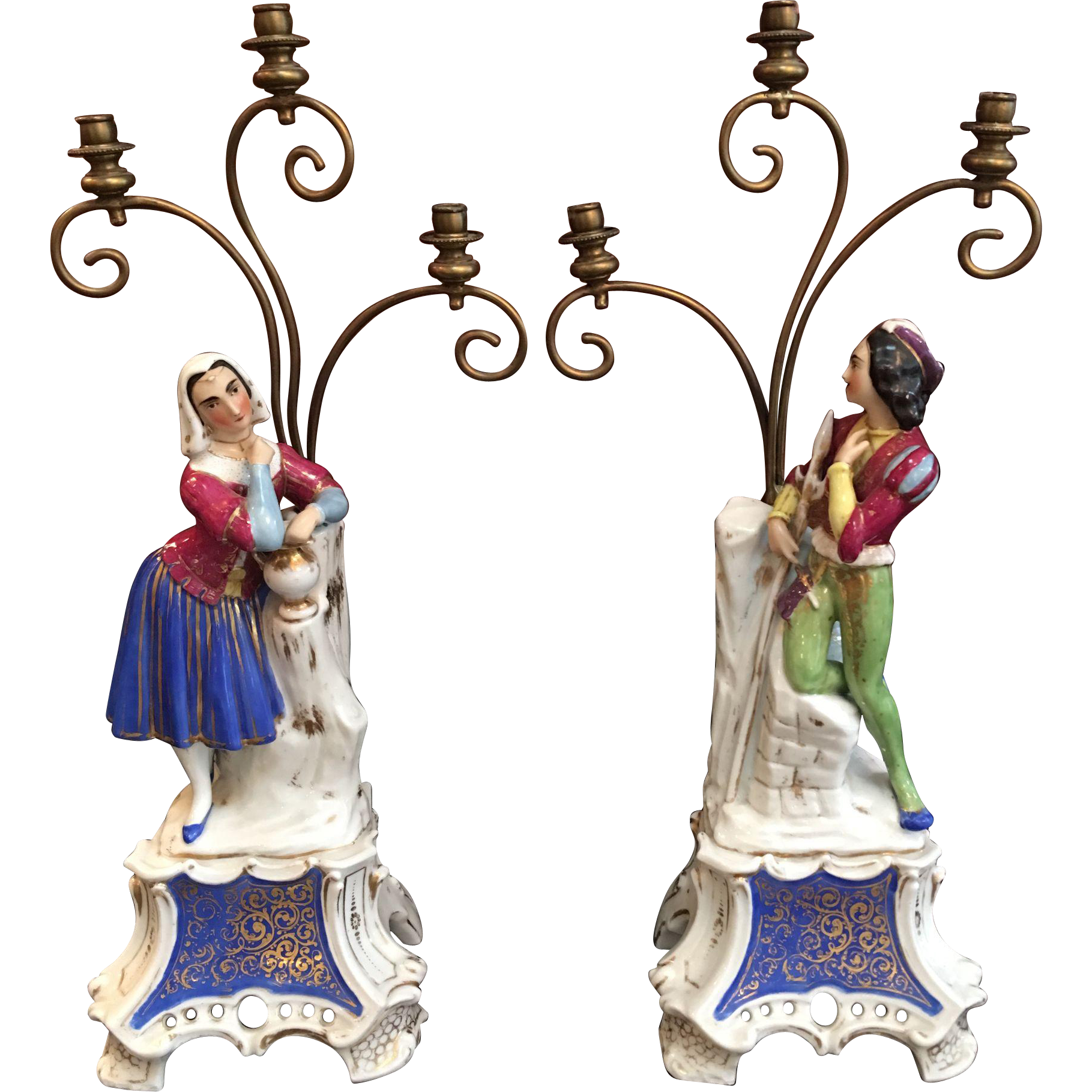 Pair 19th century french old paris porcelain figural for Jewelry arts prairie village