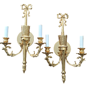 Pair Neoclassical Two-Light Wall Sconces