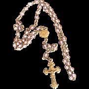 Antique Czechoslovakian SAPHIRET Glass Gilded Rosary