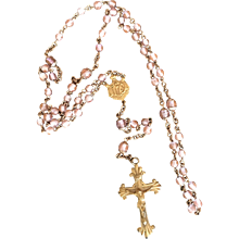 Antique Czechoslovakian SAPHIRET Glass Gilded Rosary