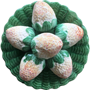 19th Century Majolica Cunha PALISSY Strawberry Plate