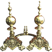 Pair 19th Century Monumental English Brass Bacchus / Dionysus Andirons